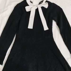 YesStyle Black Wool Bow Tie Sweater Dress